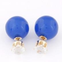 Серьги гвоздики Диор Dior Синие с камнем