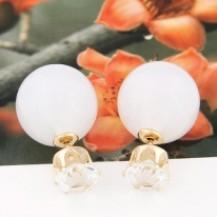 Серьги гвоздики Диор Dior Белые лунные с камнем