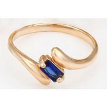 Кольцо gold filled накат золотом с сапфировым цирконом GF842 Размер 17
