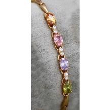 Браслет покрытие золотом с разноцветными цирконами GF871