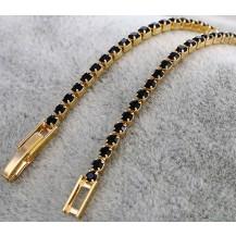 Тонкий позолоченный браслет с черными цирконами GF940