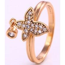 Кольцо Бабочка с цирконами gold filled накат золотом GF861 Размер 17