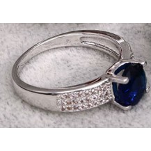 Кольцо с синим и белыми цирконами gold filled накат золотом GF872 Разм 18