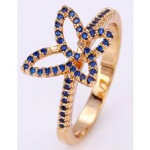 Кольцо Бабочка с сапфировыми с цирконами gold filled позолота GF894 Разм 18