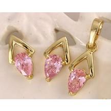 Комлект серьги, кулон, цепочка позолота розовые цирконы GF939