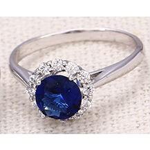Кольцо с синим цирконом белая позолота GF943 разм 18