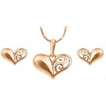 Комлект Сердце Узор серьги, кулон, цепочка позолота цирконы GF958