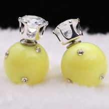 Серьги Диор Dior Желтые с камнями