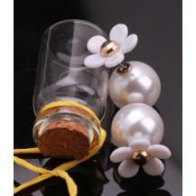 Серьги Диор Dior с белым цветком