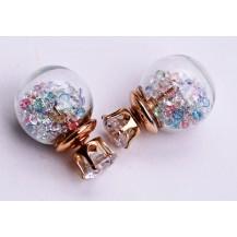 Серьги Dior Диор прозрачные с разноцветными кристаллами
