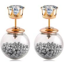Серьги Dior Диор прозрачные с серыми матовыми шариками