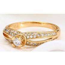 Кольцо Принцесса позолота с цирконами GF1030 размер 18
