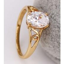 Кольцо gold filled накат золотом с овальным цирконом GF845 Размер 18