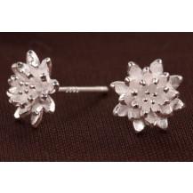 Серьги Tiffany миниатюрный Лотос покрытие серебром 925 (TF-E106)