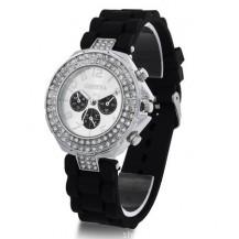 Часы со стразами Geneva Crystal женева Черные 011-2