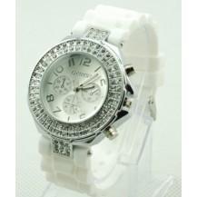 Часы со стразами Geneva Crystal женева Белые 011-1