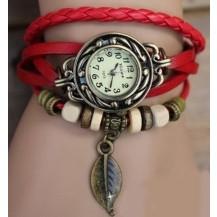 Часы-браслет с подвеской листик Красные