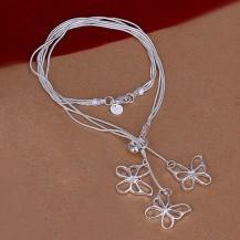 Колье Tiffany Бабочки. Покрытие серебром 925 (TF-N043)