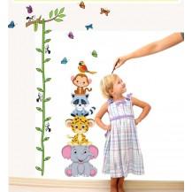 Интерьерная наклейка на стену ростомер Зверята (abc1003)