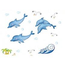 Интерьерная наклейка на стену Дельфины (DM57003)