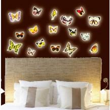 Интерьерная наклейка на стену бабочки светящиеся (набор y0024)