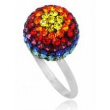 Серебряное кольцо с кристаллами Swarovski (TN489). Размер 17,18