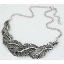 Ожерелье колье Перышки серебро античное tb1130