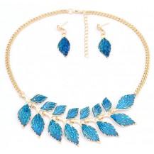 Набор ожерелье и серьги синее tb1214