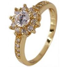 Кольцо позолота Gold Filled с цирконами по кругу (GF451) Размер 17 и 18