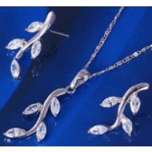 Набор Веточка белая позолота с цирконами: серьги, кулон, цепочка  (GF435