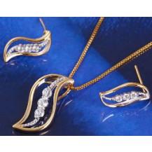 Набор Изгиб позолота: серьги, кулон, цепочка  (GF429