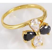 Кольцо позолота Gold Filled с черно-белыми цирконами (GF461) Размер 17