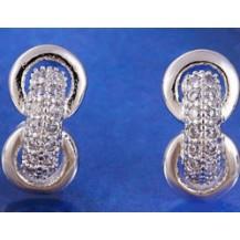 Серьги гвоздики цирконы белая позолота (GF437