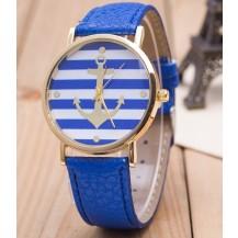 Часы Женева Geneva Якорь синий ремешок