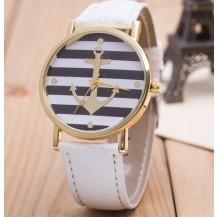 Часы Женева Geneva Якорь белый ремешок