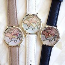 Часы Женева geneva Карта белый ремешок