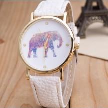Часы Женева Geneva Слон белый ремешок 020-02
