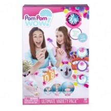 Игровой набор Pom Pom Wow! – СУПЕРМИКС (120 помпонов: однотонные, меланжевые, с люрексом, мини) от Pom Pom Wow! - под заказ