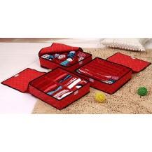 Набор органайзеров из 3х штук для белья с крышкой - Красный