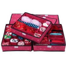Набор органайзеров из 3х штук для белья с крышкой - Розовый