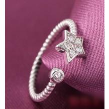 Кольцо Звездочка с цирконами. Покрытие серебром JZ011
