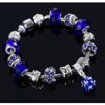 Браслет в стиле Пандора с подвеской Кристалл синий tb1345