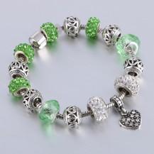 Браслет в стиле Пандора c подвеской зеленый (tb1348)