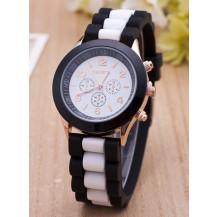 Часы наручные женские GENEVA sport белая полоса на черном