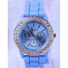 Часы женские GENEVA ЖЕНЕВА со стразами Голубые