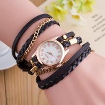 Часы-браслет длинные, наматывающиеся на руку Черные 146-4