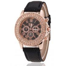 Часы женские Женева Geneva стразы два ряда черные 53-01