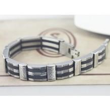 Мужской стальной браслет с каучуковыми вставками 156105