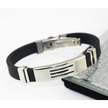 Мужской каучуковый браслет со стальными накладками 89031118
