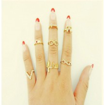 Набор золотистых колец на фаланги tb1424